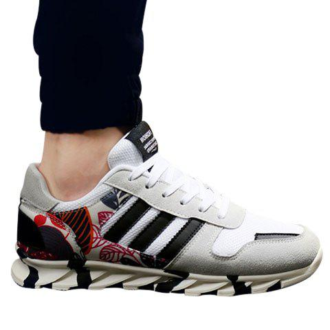 Fashionable Printed and Suede Design Athletic Shoes For Men