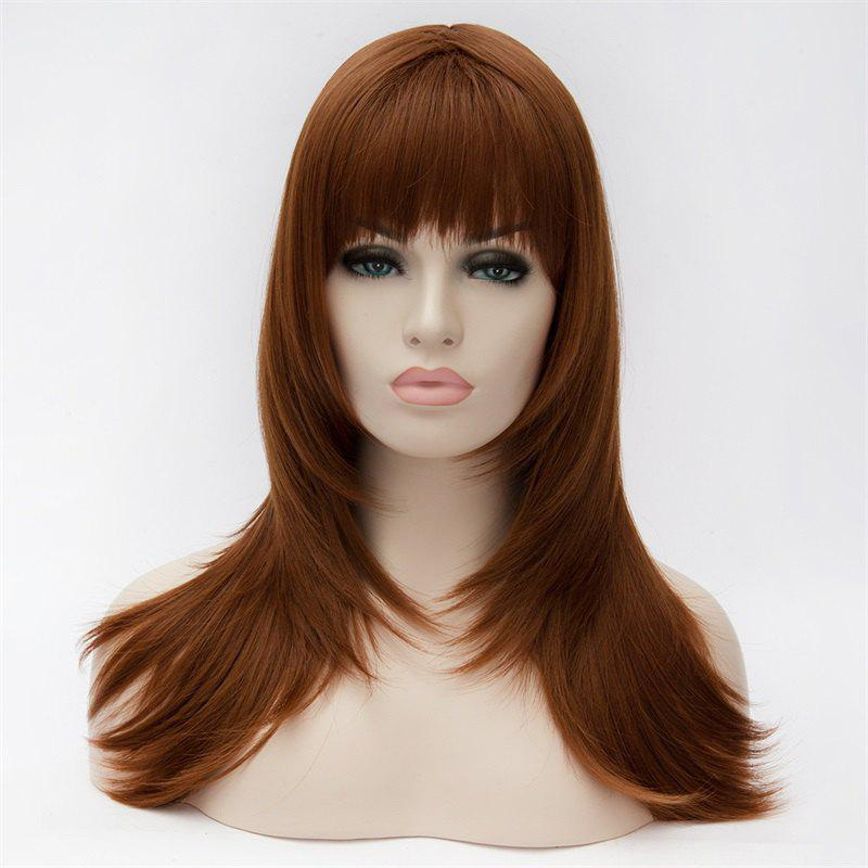 Elegant Brown Fluffy Straight Charming Long Full Bang Capless Heat Resistant Synthetic Wig For Women - BROWN