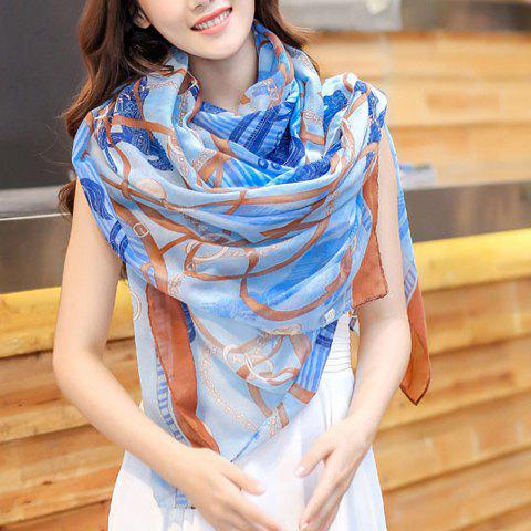 Chic Chains and Belts Pattern Women's Voile Scarf - COFFEE