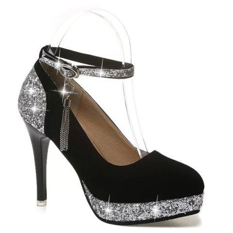 Party Splicing and Tassel Design Pumps For Women - SILVER 35