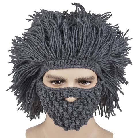 Stylish Beard and Afro Hair Shape Design Men's Knitted Hat - GRAY