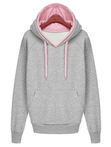 Stylish Hooded Long Sleeve Color Block Pocket Design Women's Hoodie