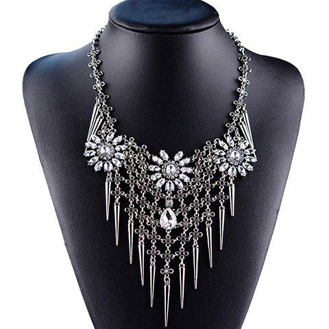 Vintage Pointed Cone Rivet Rhinestone Flower Necklace For Women - WHITE