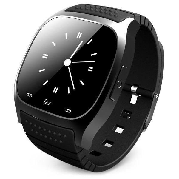 RWATCH M26 Bluetooth Watch LED Light Display with Dial / Call Answer / SMS Reminding / Music Player / Anti-lost / Passometer / Thermometer for Samsung / HTC - BLACK
