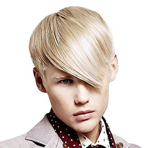 Trendy Heat Resistant Fiber Sparkling Light Blonde Short Side Bang Straight Capless Men's Wig