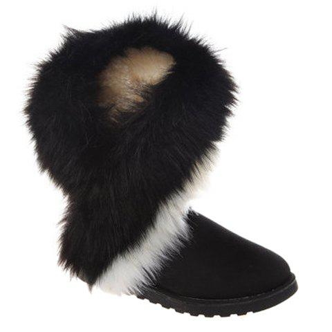 Trendy Color Block and Faux Fur Design Snow Boots For Women - BLACK 40