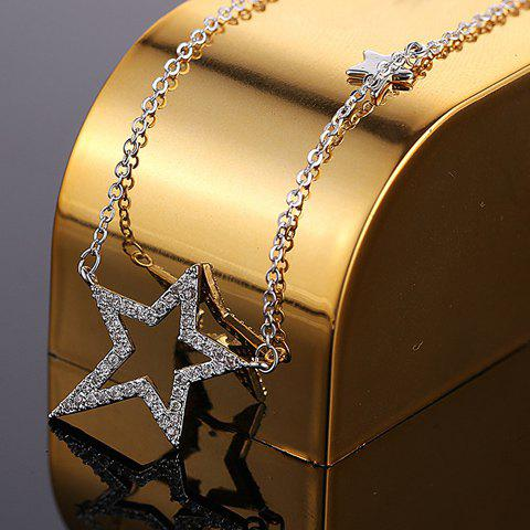 Chic Rhinestone Hollow Out Star Pendant Necklace For Women - WHITE GOLDEN