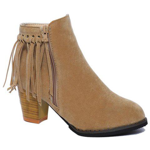 Trendy Fringe and Solid Color Design Ankle Boots For Women - APRICOT 36