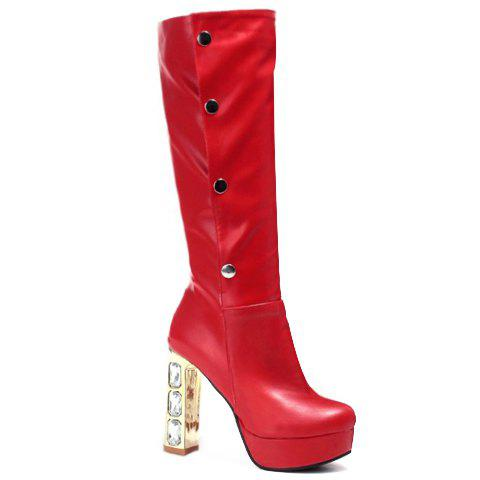 Trendy Rhinestones and Chunky Heel Design High Heel Boots For Women - RED 37