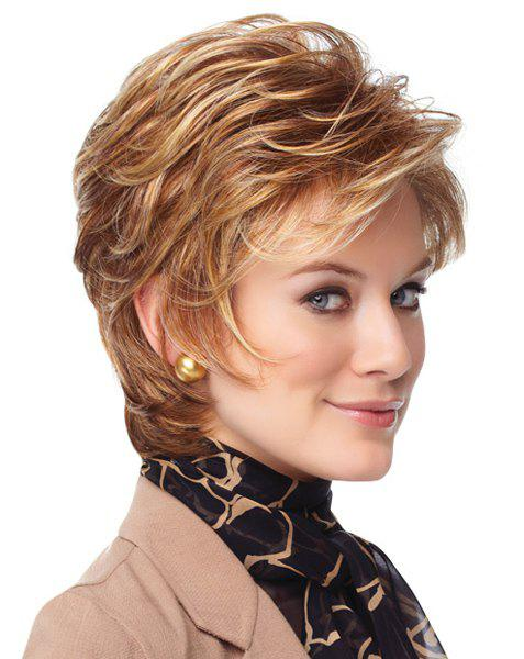 Blonde Mixed Brown Sophisticated Short Capless Synthetic Inclined Bang Shaggy Wave Wig For Women
