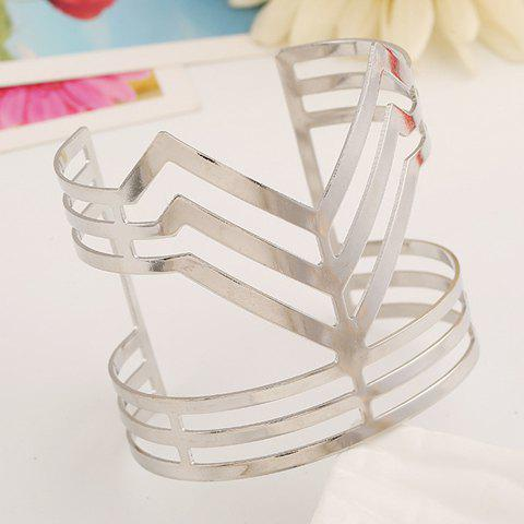 Trendy Hollow Out Irregular Solid Color Cuff Bracelet For Women