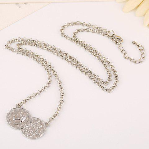 Stylish Solid Color Coin Necklace For Women - SILVER
