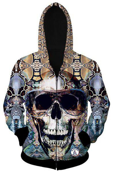 Slimming Hooded 3D Skull Pattern Cotton Blend Long Sleeve Hoodie - AS THE PICTURE L