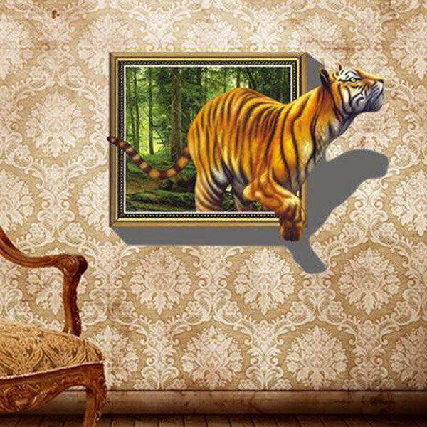 A Set of Chic DIY Home Decoration Tiger Pattern PVC Removable 3D Wall Stickers - COLORMIX