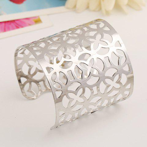 Irregular Hollow Out Flower Cuff Bracelet - SILVER