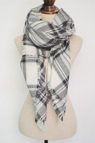 Chic Plaid Pattern Fringed Multifunctional Big Square Scarf For Women - WHITE
