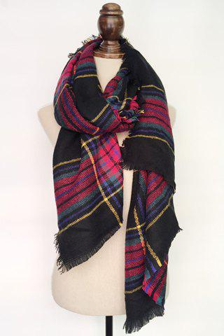 Chic Tartan Pattern Fringed Pashmina For Women - BLACK