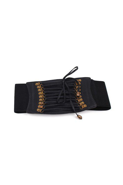 Chic Lace-Up PU Elastic Waistband For Women - BLACK