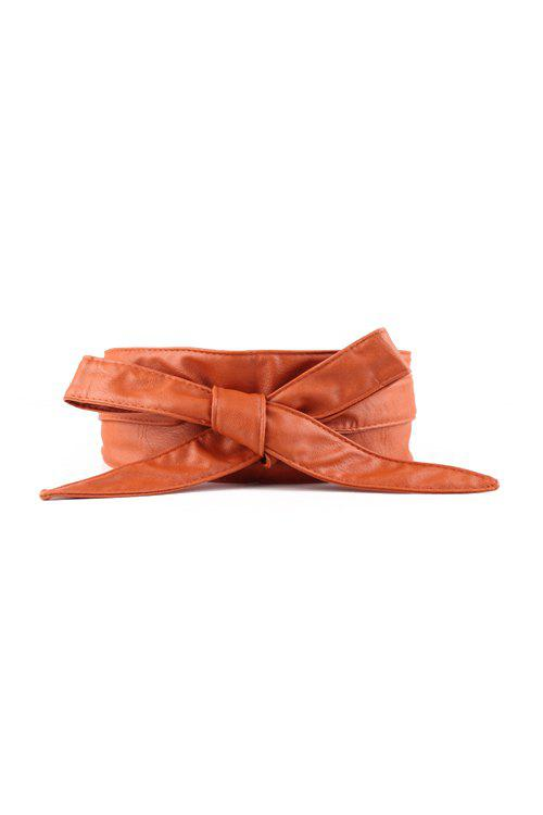 Chic Knotted Bow PU Waistband For Women - EARTHY