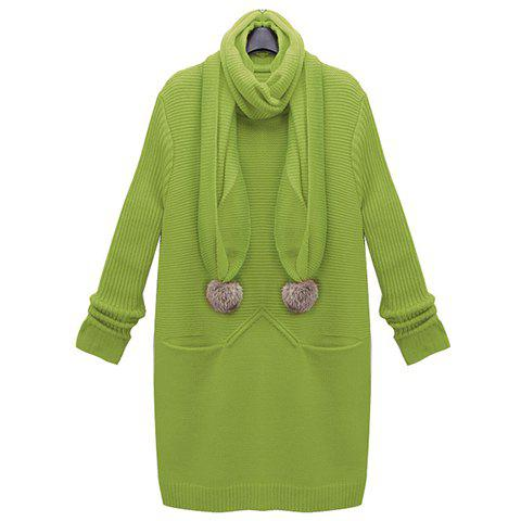 Chic Long Sleeve Round Neck Pure Color Knitted Women's Dress - GREEN ONE SIZE(FIT SIZE XS TO M)