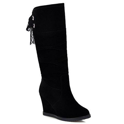 Fashion Suede and Lace-Up Design Mid-Calf Boots For Women