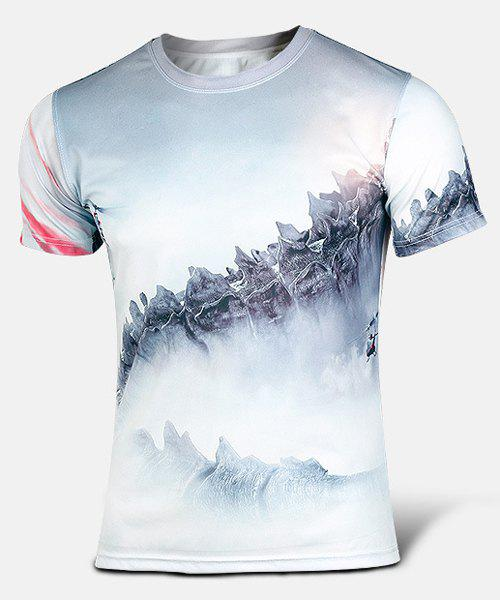 Outdoor Round Neck 3D Godzilla Print Color Block Fitted Short Sleeves Men's Quick-Dry T-Shirt - COLORMIX M