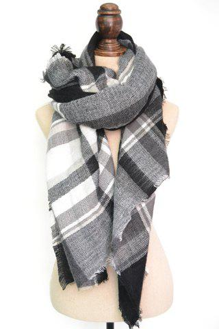 Chic Tartan Pattern Color Block Fringed Scarf For Women