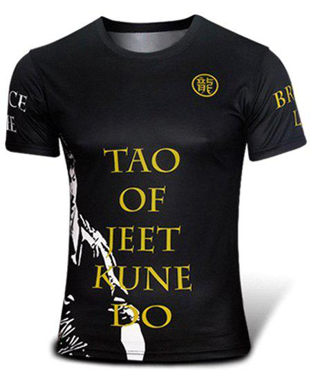 Outdoor Round Neck Letters Bruce Lee Pattern Quick Dry Short Sleeves Men's 3D Printed T-Shirt - XL BLACK