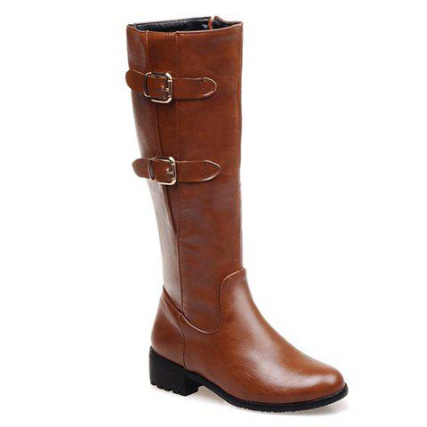 Simple Buckle and Zipper Design Mid-Calf Boots For Women - YELLOW 39
