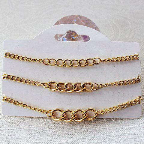 3PCS Simple Solid Color Chain Bracelets For Women - GOLDEN
