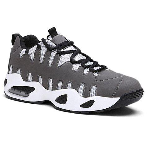 Stylish Lace-Up and Colour Block Design Athletic Shoes For Men - GRAY 44
