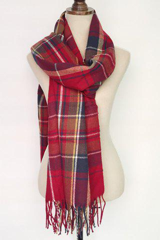 Chic Tassel Embellished Tartan Pattern Multifunctional Scarf For Women - RED