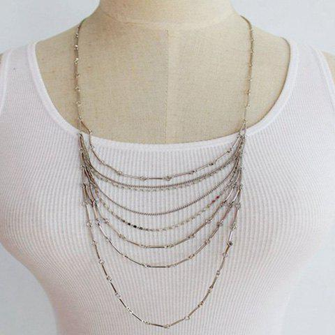 Delicate Bamboo Joint Chain Layered Necklace For WomenJewelry<br><br><br>Color: WHITE GOLDEN