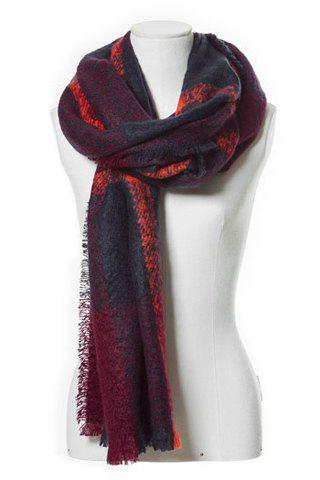 Chic Plaid Pattern Fringed Multifunctional Women's Loop Yarn Scarf - COLOR ASSORTED