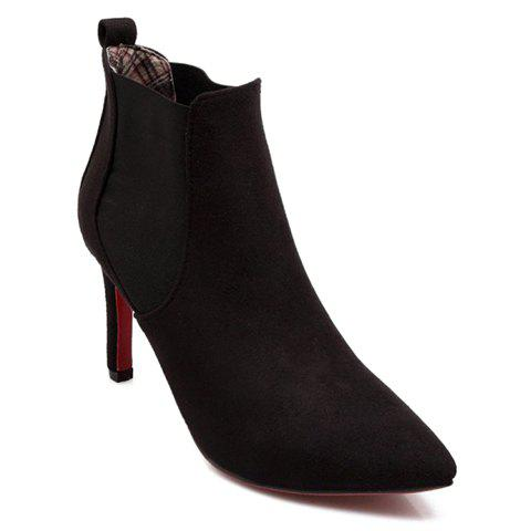 Graceful Dark Color and Stiletto Heel Design Ankle Boots For Women - BLACK 35
