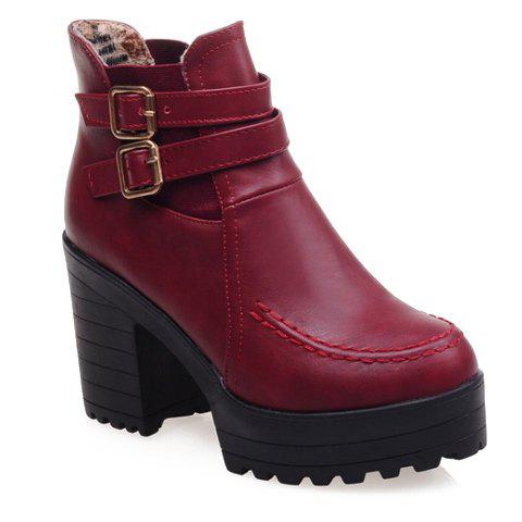 Retro Stitching and Chunky Heel Design Ankle Boots For Women - RED 36
