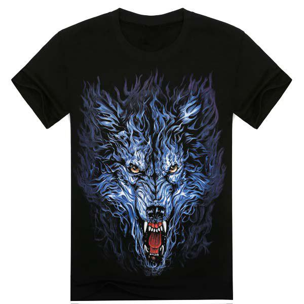 Modish Loose Fit Round Neck 3D Wolf Head Pattern Short Sleeve Cotton Blend T-Shirt For Men blue stripe pattern loose fit t shirt