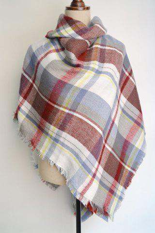 Chic Fringed Edge Tartan Pattern Pashmina For Women - WHITE