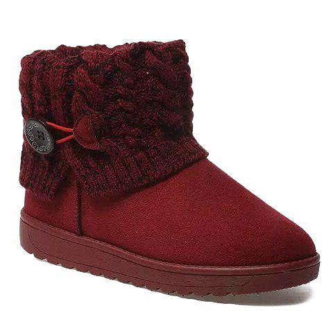 Knitted Button Snow Boots - RED 38