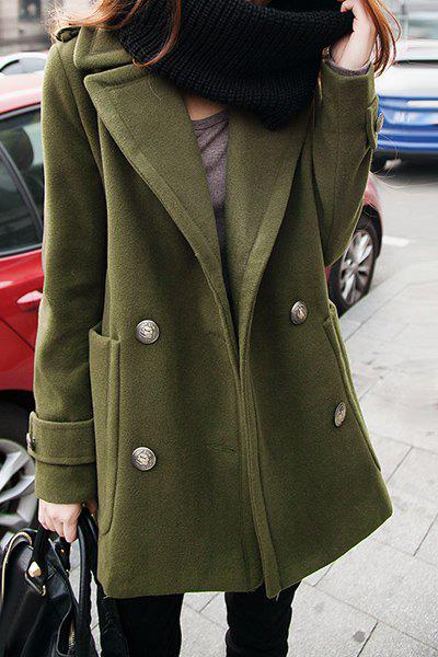Chic Turn-Down Collar Long Sleeve Pocket Design Pure Color Women's Coat от Dresslily.com INT