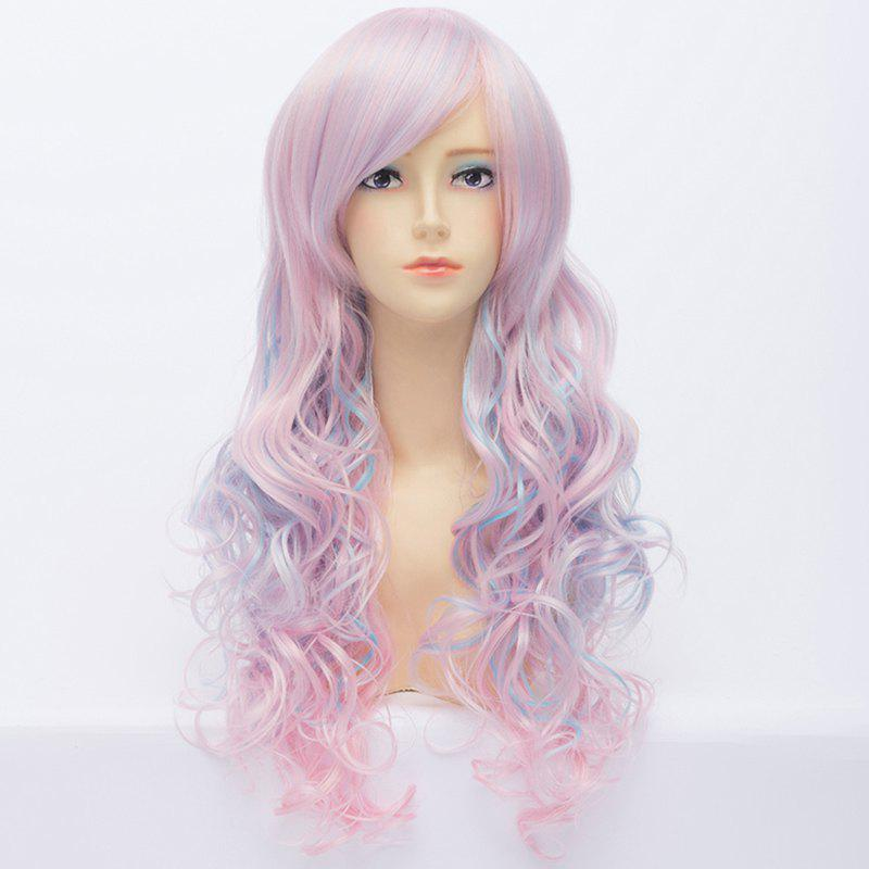 Gorgeous Side Bang Light Pink Mixed Azure Shaggy Wavy Capless Long Lolita Style Cosplay Wig