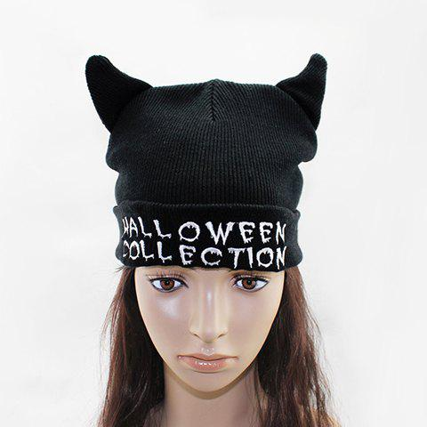Chic Ox Horn Shape Embellished Letter Embroidery Women's Knitted Beanie - BLACK