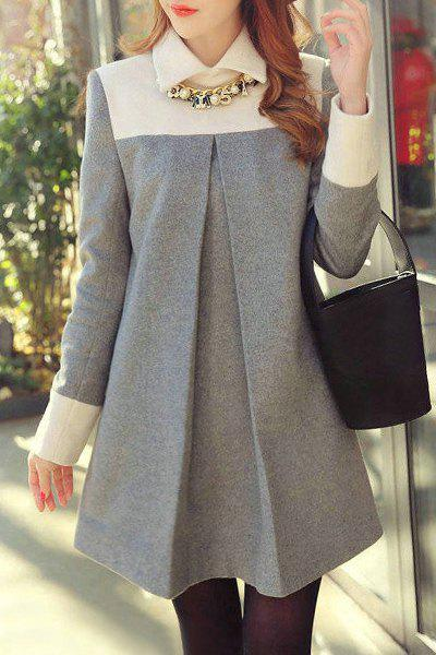 Chic Long Sleeve Flat Collar Hit Color Women's Maternity Dress - GRAY M