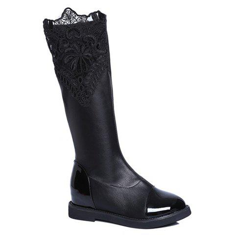 Retro Splice and Lace Design Knee-High Boots For Women - BLACK 37