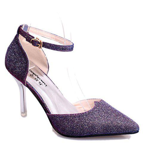 Graceful Sequined and Two-Piece Design Pumps For Women - PURPLE 39