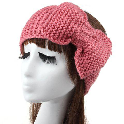 Delicate Solid Color Bow Woolen Yarn Warmth Hairband For Women - RANDOM COLOR