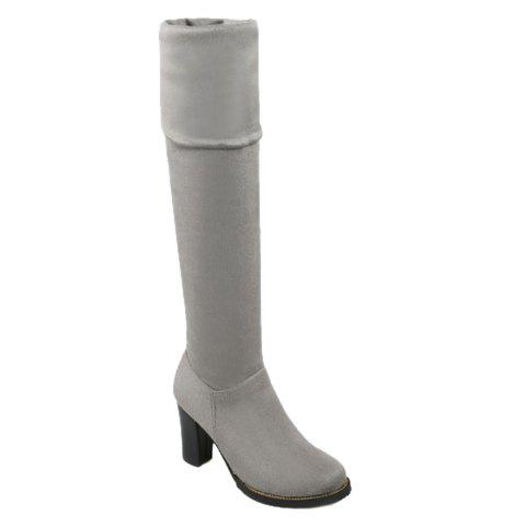 Laconic Suede and Zipper Design Over The Knee Boots For Women