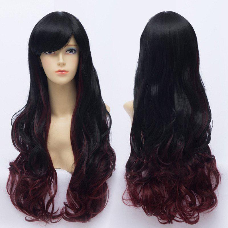 Stylish Side Bang Black Ombre Dark Red Fluffy Wave Synthetic Long Harajuku Cosplay Women's Wig - OMBRE