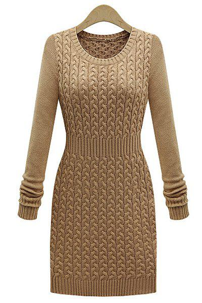 Women's Stylish Long Sleeve Solid Color Bodycon Sweater Dress - ONE SIZE(FIT SIZE XS TO M) KHAKI