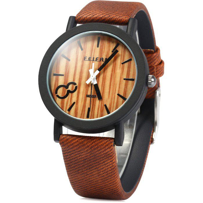 FEIFAN Male Quartz Watch with Big Number 8 Leather Band - DARK BROWN